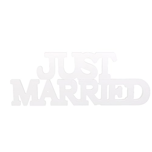 Just Married Lettres en Bois Décoration de Table pour Mariage Photo Prop Blanc