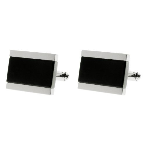 Men's Stainless Steel Black Ion-Plated Cuff Links
