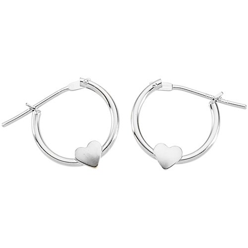 14K White Gold 12 MM Children's Heart Click Hoop Earrings