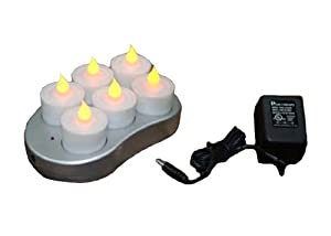 Mr. Light Complete Set of 6 Restaurant Quality Rechargeable Tealights/Flickering Amber LEDs and Recharge Base