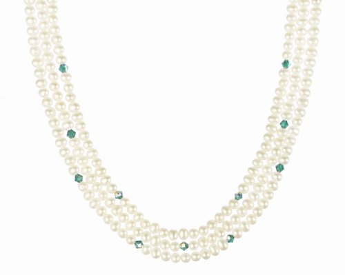 Gold Plated Sterling Silver Clasp with Crystallized Swarovski Elements AB Bicone December Birthstone Zircon Color and White Freshwater Cultured Pearl Beaded Necklace