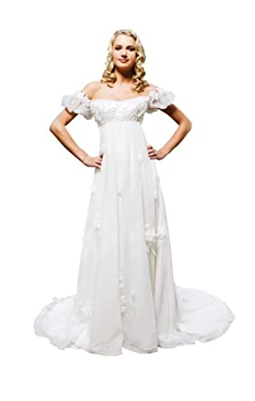 Empire Off-the-Shoulder Court Train Wedding Dress With Embroidered/Beading/Handmade Flower 2 Ivory