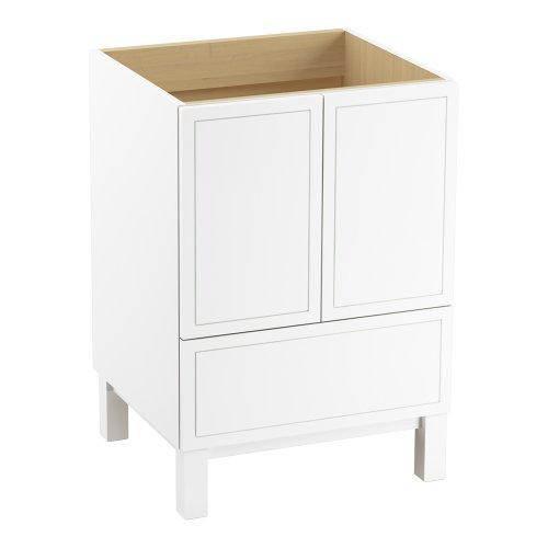 Kohler K-99501-Lg-1Wa Jacquard Vanity With Furniture Legs 2 Doors And 1 Drawer, 24-Inch, Linen White