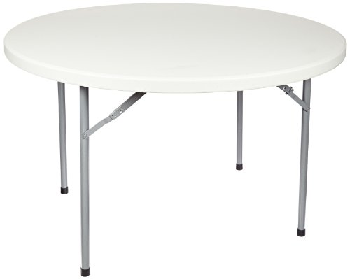 """National Public Seating Bt-R Series Steel Frame Round Blow Molded Plastic Top Folding Table, 700 Lbs Capacity, 48"""" Diameter X 29-1/2"""" Height, Speckled Gray/Gray"""