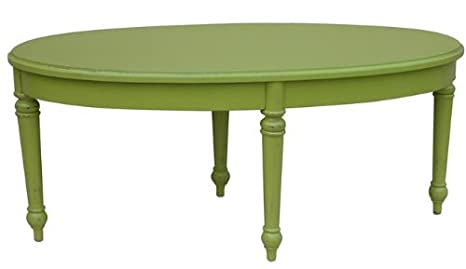 New Coffee Table Green Painted Hardwood Oval Provence