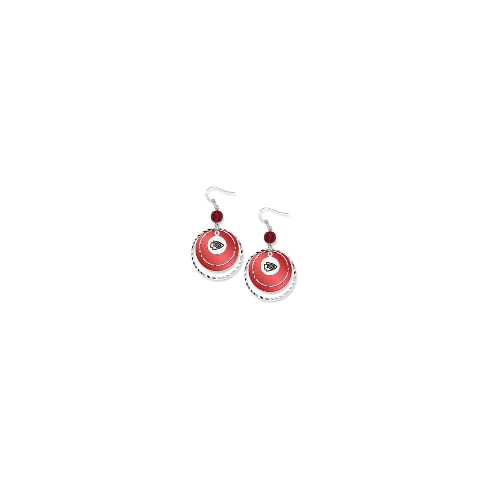 NFL Kansas City Chiefs Game Day Earrings W/ Red Beads