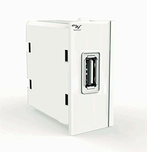 Wayona 1A Single USB Socket Charger (Compatible with Anchor Roma switch plate) – White