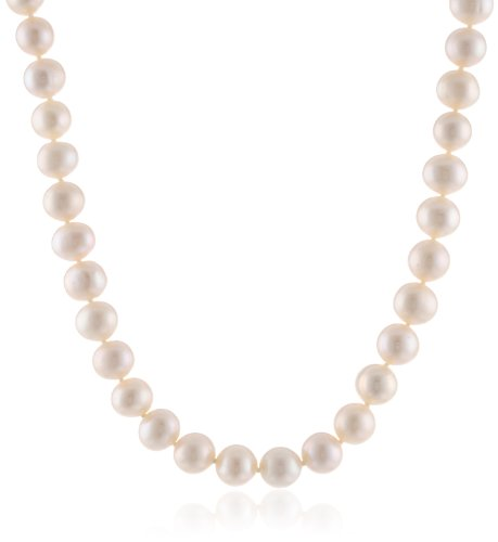 White Freshwater Cultured Pearl Princess Strand Necklace with Sterling Silver Clasp