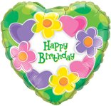 Birthday Hearts & Flowers Foil Balloon 18
