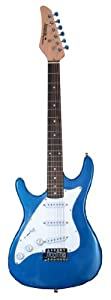Metallic Blue Full Size Lefty Electric Guitar Left Handed with Free Carrying Bag, Cable and Strap, & DirectlyCheap(TM) Translucent Blue Medium Guitar Pick