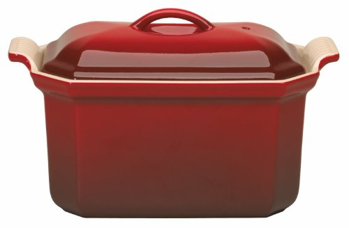 Le Creuset Heritage Stoneware 3/4-Quart Pate Terrine with Press, Cerise (Cherry Red)