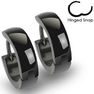 Pair of 316L Stainless Steel Plain Black Huggie Hoop Earrings; Comes With Free Gift Box