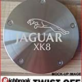 Jaguar XK8 Richbrook twist-off machined silver aluminium tax disc holder laser engraved also available in titanium
