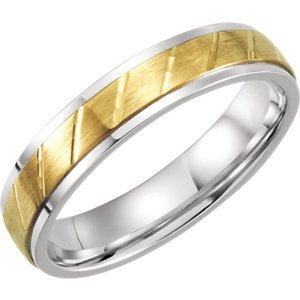 Sterling Silver & 10kt Yellow 5mm Precious Bond Design Band Size 12
