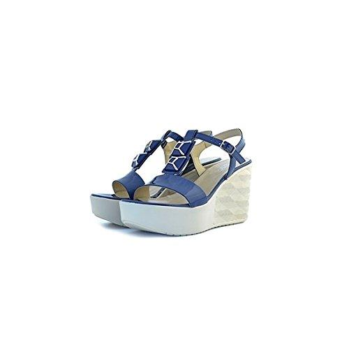 Scarpe sandali donna Jeannot numero 37 32232 in vernice blu paint zeppa tacco