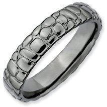 Specially Romantic Silver Stackable Black Band. Sizes 5-10 Available