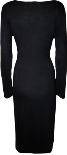 WearAll Women's Plus Size Plain Midi Dress - Black - US 12-14 (UK 16-18)