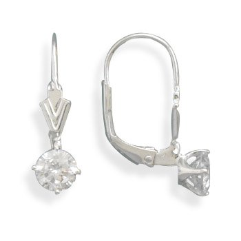 5mm CZ Lever Back Earrings
