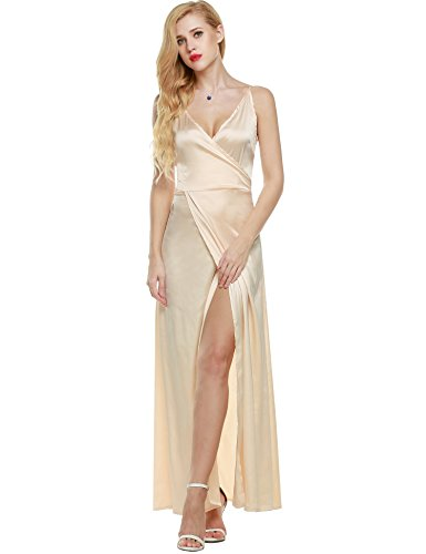 ANGVNS Women Strap Sleeveless Split Side Evening Dress Long Evening Gown, Size XX-Large, Apricot