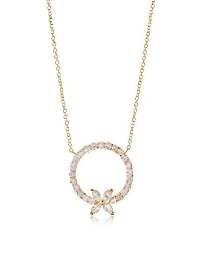 CZ by Kenneth Jay Lane Gold Eternity CZ Circle Pendant Necklace