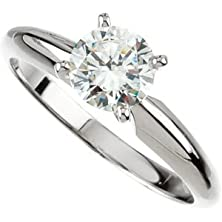 buy Exquisite! Women'S 14K White-Gold 2 Ct Round Brilliant Moissanite Solitaire Engagement Ring - 8.0Mm Size 7
