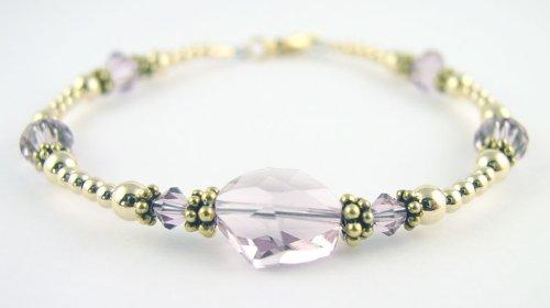 Alexandrite June Birthstone Gold Filled Swarovski Crystal Handmade Beaded Bracelets