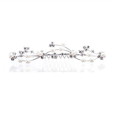 ACCESSORIESFOREVER Women Bridal Wedding Jewelry Crystal Rhinestone Pearl Floral Vine Hair Comb Pin Tiara