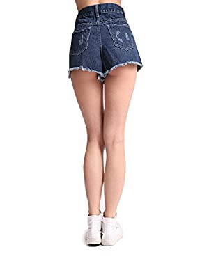 Sima Women's Denim Shorts Navy Blue High Waist Button Fly Pattern (US 2 (XS))