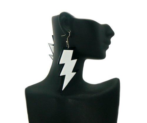 White Basketball Wives Poparazzi Small Lightning Bolt Earrings Lady Gaga Paparazzi