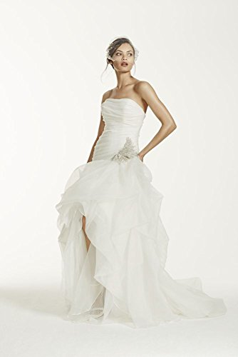 SAMPLE: Organza and Tulle High-Low Wedding Dress with Beaded Flower Style...
