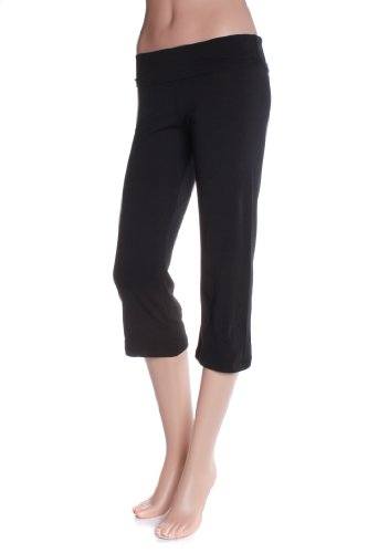 Absolute Clothing Women'S Fold Over Low Rise Cotton Blend Yoga Capri Pants Black Medium