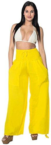 rayon-plain-drawstring-tie-lounge-pajama-beachwear-women-cover-up-pants-yellow