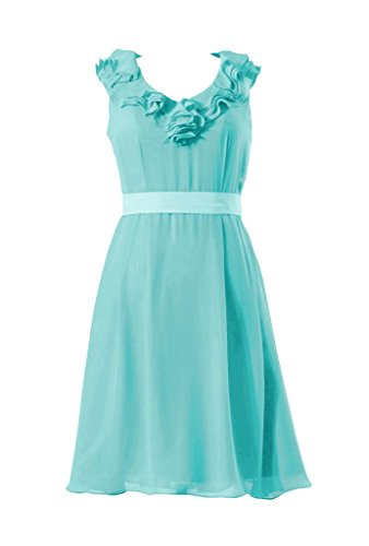 Daisyformals Cocktail V-Neck Chiffon Bridesmaid Dress(Bm245)- Tiffany Blue
