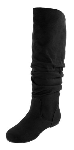 Soda Shoes Zuluu Slouch Boots, Black Suede, 8.5 (Soda Suede Boots compare prices)