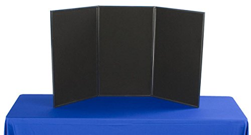 Displays2go Exhibition Display System, 3 Panels, 54 x 30, Black Velcro-Receptive Fabric and White, Write-On Dry Erase Board (3PV5430BLK) (Graphic Display Systems compare prices)