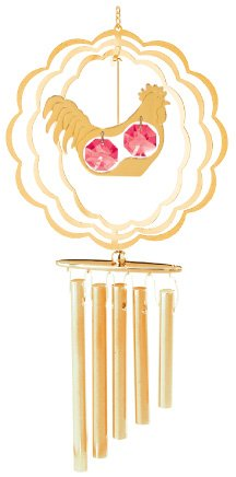 24K Gold Plated Wind Chime Sun Catcher or Ornament..... Rooster in Scallope Circle With Red Swarovski Austrian Crystal