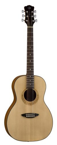 Luna GYP PAR Gypsy Parlour 3/4 Size Body Travel Guitar including Gig Bag and In-Built Tuner - Celtic Design Rosette