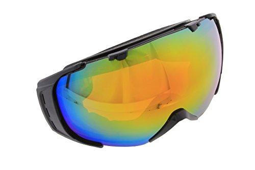 Herren Damen Skibrille Snowboardbrille Ski Snowboard schwarz Rahmenlos BIGSIZE