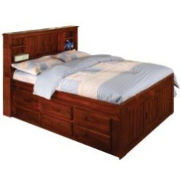 Discovery World Furniture Merlot Bookcase Captains Bed Full With 6 Drawer Storage (6 on ONE side) (Full Captains Bed compare prices)