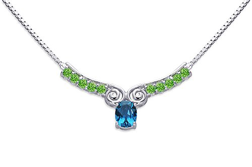 Revoni 3.50 carats total weight Oval & Round Shape Multi-Gemstone Necklace in Sterling Silver