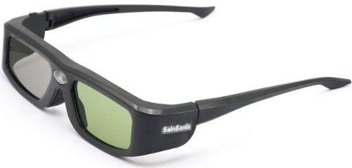 サインソニック プロジェクター用 3Dメガネ SSZ-200LDB USB端子充電方式 アクティブシャッター Acer、ViewSonic、BenQ、Vivitek、Optoma DLP-Linkに対応 透過率36%、3D映像も明るく表示可能! ファミリーセット2個