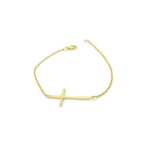 apop nyc 14k Yellow Gold Vermeil Horizontal Cross Bracelet 7 inch