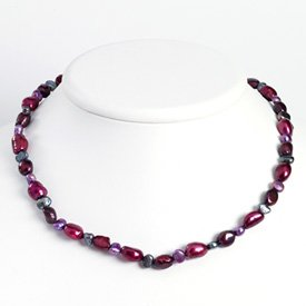 Sterling Silver Purple & Grey Cultured Pearl Necklace - QH2587-18