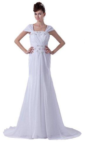 Dearta Women'S Sheath Off-The-Shoulder Court Train Wedding Dress Us 14 Ivory