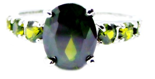 Beautiful Oval 1 Carat Green Peridot Engagement Ring, Size 7