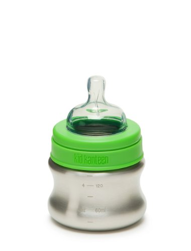 Klean Kid Kanteen Stainless Steel Baby Bottle with Slow Flow Silicone Nipple, Silver, 5-Ounce