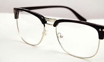 Rimless Hipster Glasses : Black Silver Fashion Hipster Vintage Retro Semi-Rimless ...