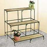 étagère escalier jardin plantes fleurs bois et métal