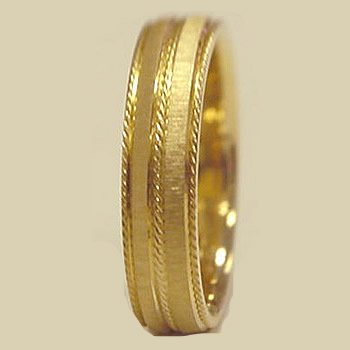 RC3210MW 6.00 Millimeters 14Kt Yellow Gold Wedding Band Ring with Satin Brush Finish and Rope Design, Finger Size 4