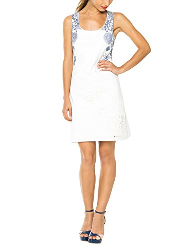 Desigual Damen A-Linie Kleid DANIELA, Knielang, Gr. 38 (Herstellergröße: L), Weiß (BLANCO 1000) thumbnail